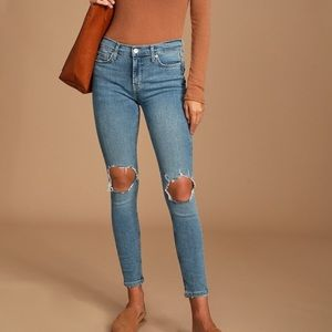 NWT Free People high rise, distressed skinny jeans